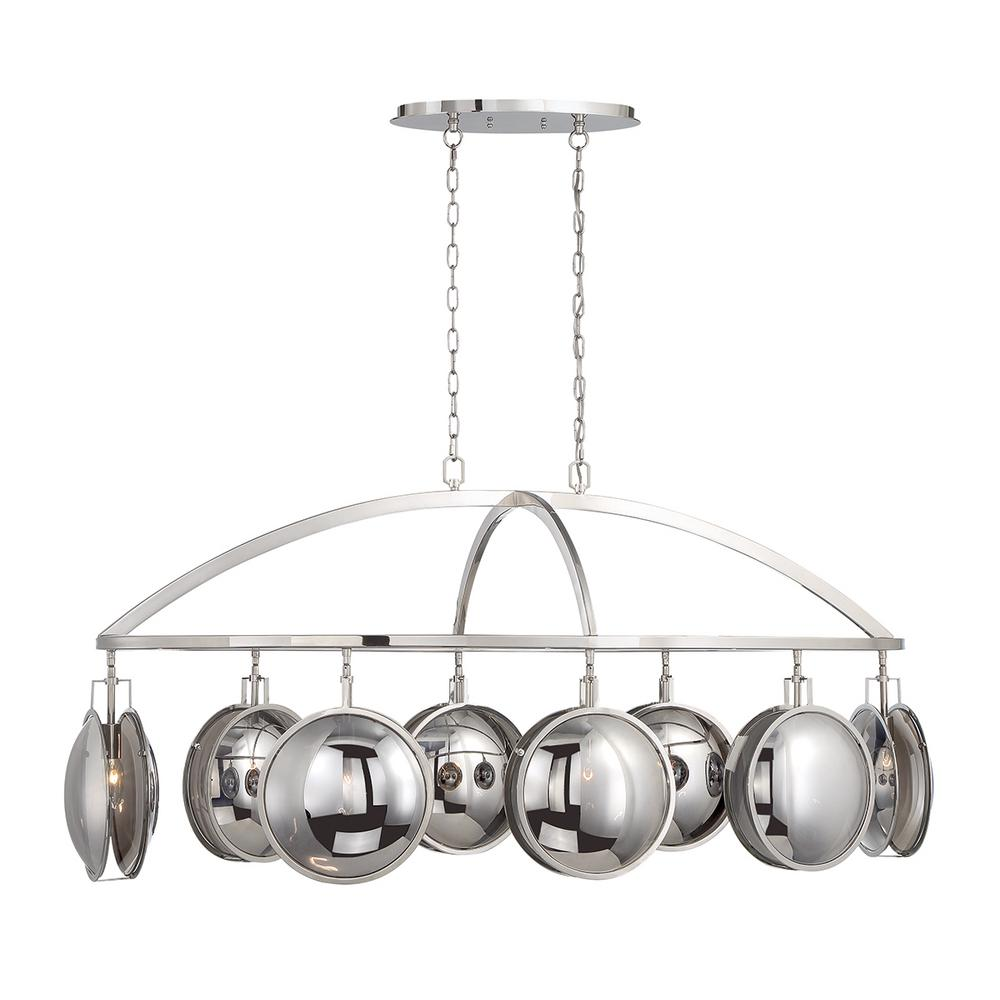 Eurofase Havendale 8-Light Polished Nickel Chandelier with Mercury Glass Shade