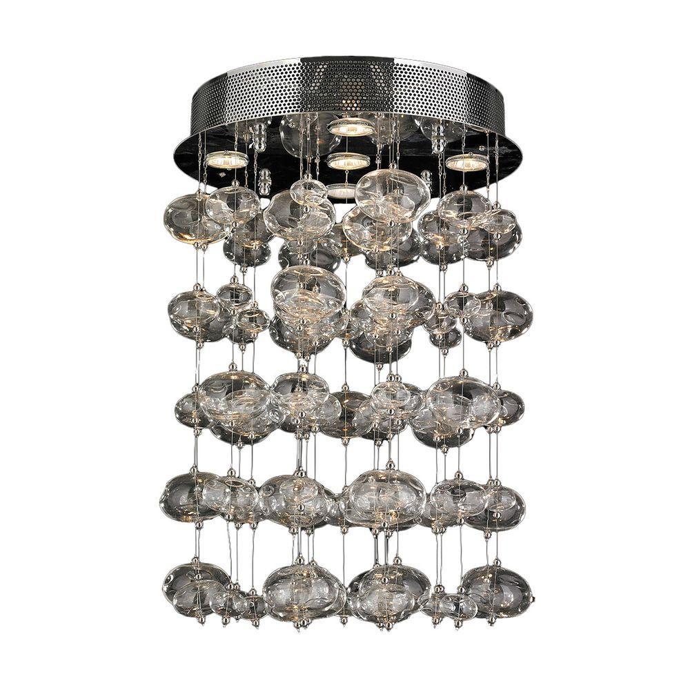 Worldwide Lighting Effervescence 5-Light Chrome Bubble Crystal Semi-Flush Mount Light