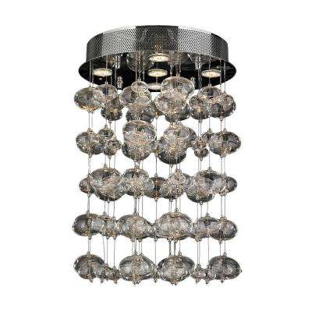 Effervescence 5-Light Chrome Bubble Crystal Semi-Flush Mount Light