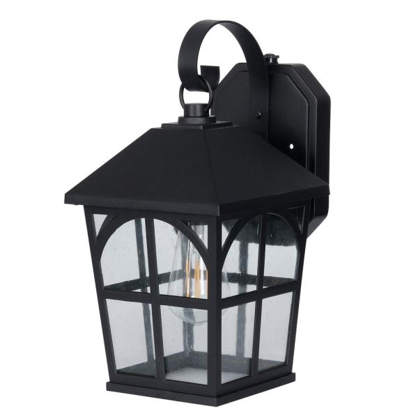 1-Light Black Integrated LED Outdoor Square Wall Sconce with Dusk to Dawn Sensor