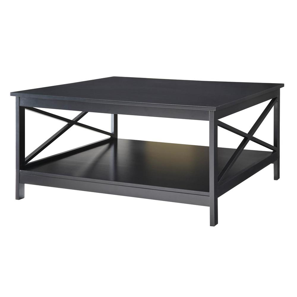 Convenience Concepts Oxford 36 In Square Black Coffee Table 203363bl The Home Depot
