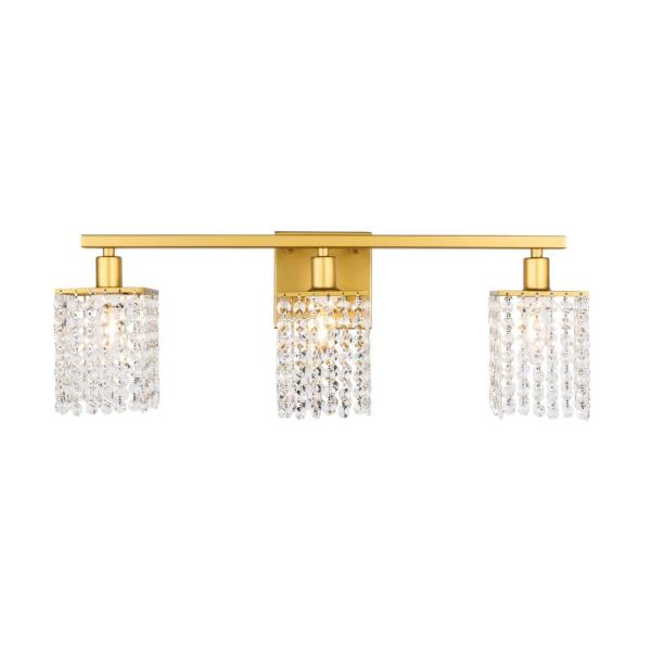 Timeless Home Paige 24 in. W x 8.4 in. H 3-Light Brass and Clear Crystals Wall Sconce