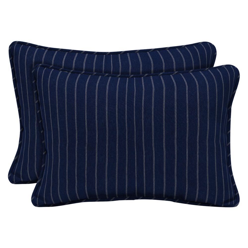 Arden Selections Navy Woven Stripe Outdoor Lumbar Pillow (2-Pack)