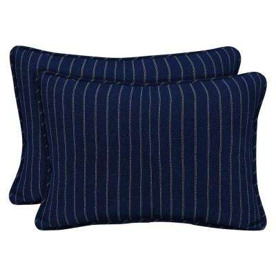Navy Woven Stripe Outdoor Lumbar Pillow (2-Pack)