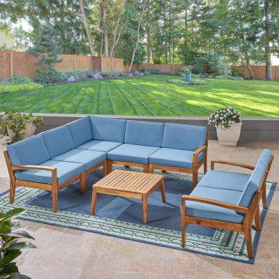 Grenada Teak Brown 8-Piece Wood Patio Conversation Set with Blue Cushions
