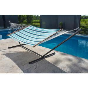 Vivere 13 ft. Sunbrella Quilted Reversible Double Hammock in Token Surfside by Vivere