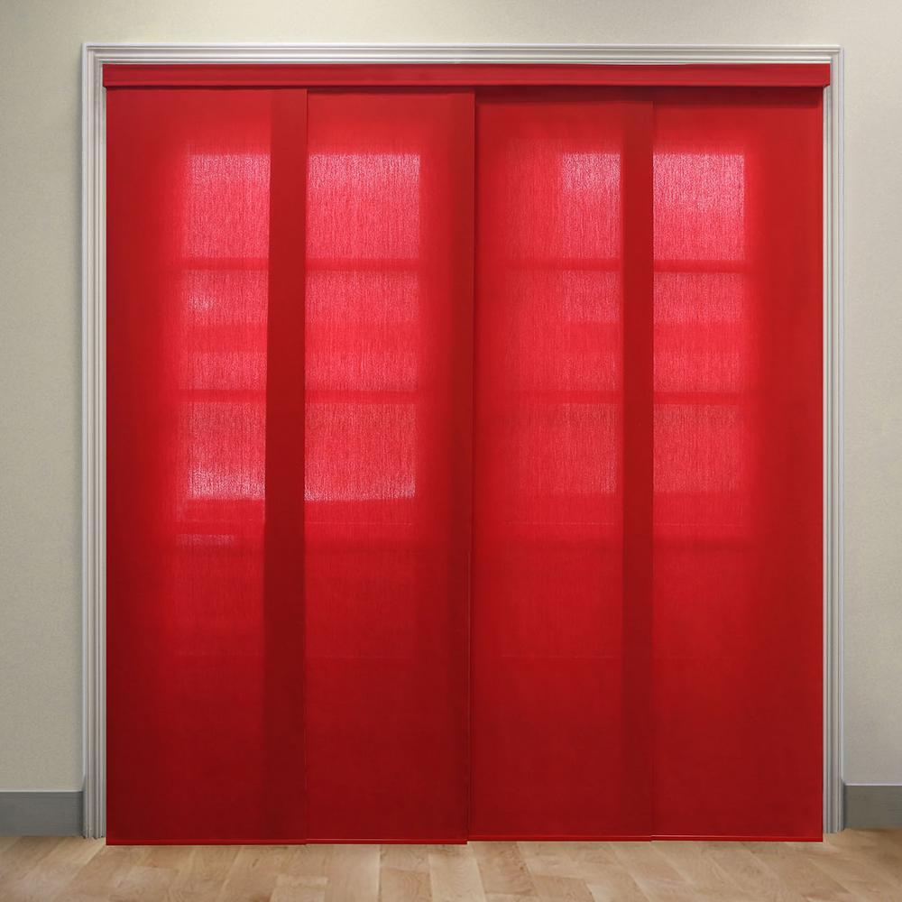 Panel Track Blinds Allure Crimson Polyester Cordless Vertical Blinds - 80