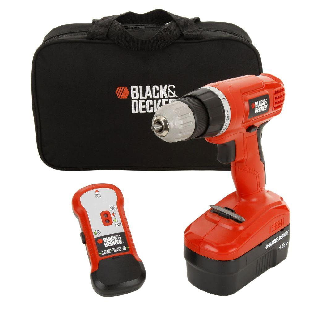BLACK+DECKER 18-Volt NiCd Cordless Drill with Stud Sensor, Battery 1.5Ah, Charger and Storage Bag