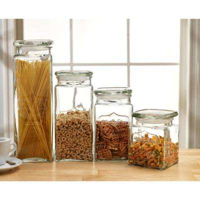 Yorkshire 4-Piece Glass Canister Set with Glass Lids