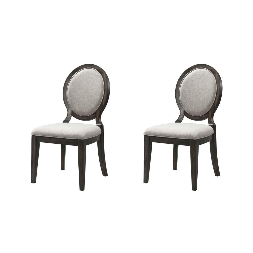 Steele Gray Oak Round Fabric Chair Set