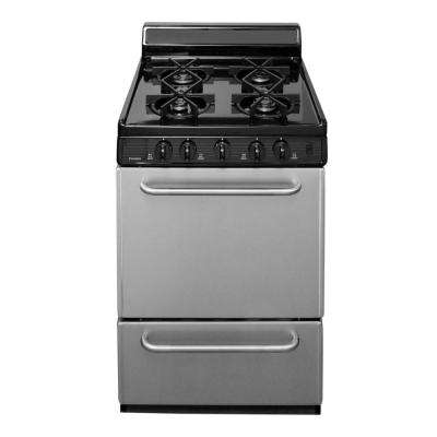 24 in. 2.97 cu. ft. Freestanding Sealed Burner Gas Range in Stainless Steel