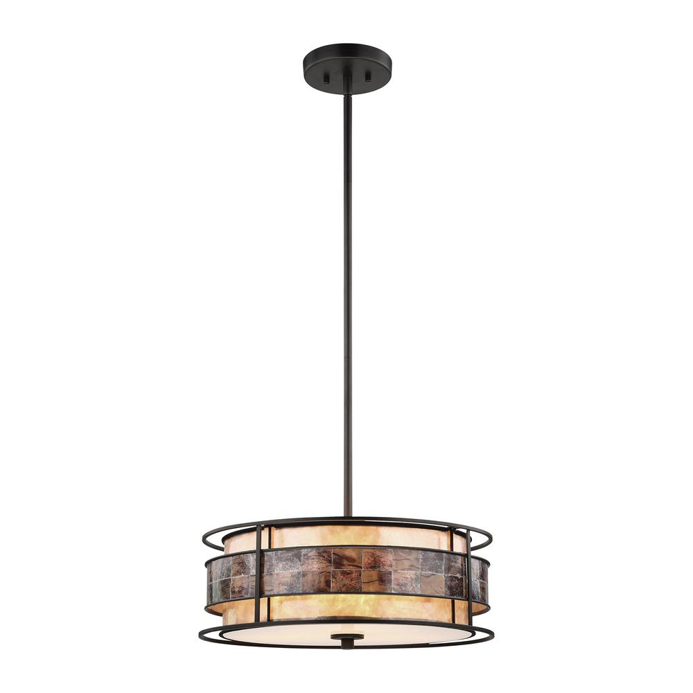 An Lighting Tremont 3 Light Small Tiffany Bronze Chandelier With Tan And Brown Mica Shade