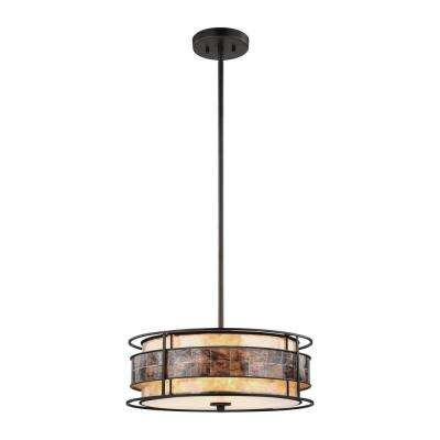 Tremont 3-Light Small Tiffany Bronze Chandelier with Tan and Brown Mica Shade