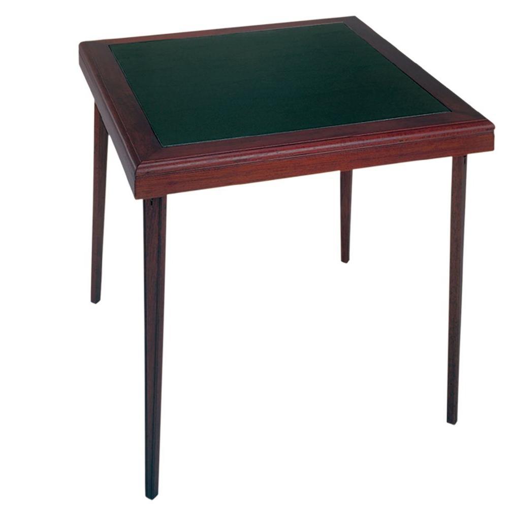Espresso 32 in. x 32 in. Square Wood/Vinyl Folding Table