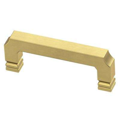 Notched 3 in. (76mm) Center-to-Center Brushed Brass Drawer Pull