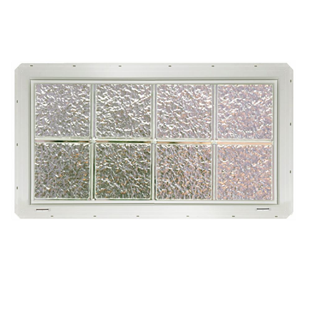CrystaLok 31.75 in. x 16.75 in. x 3.25 in. Ice Pattern Glass Block ...
