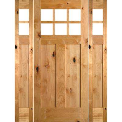 64 in. x 80 in. Craftsman Alder 3 Panel 6-Lite Clear Low-E Unfinished Wood Right-Hand Prehung Front Door/Sidelites