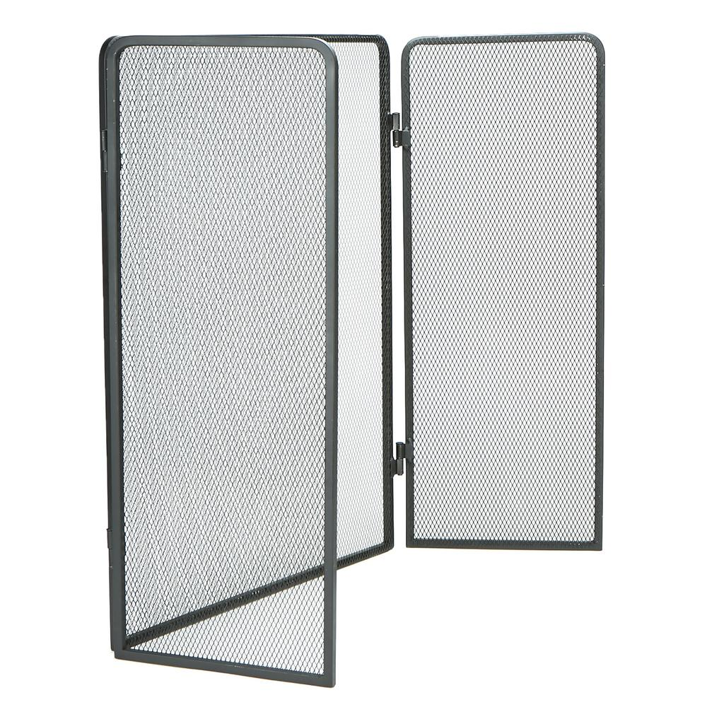 Mind Reader 3 Panel Fire Place Screen Door Panel With Double Bar Black  Finish,