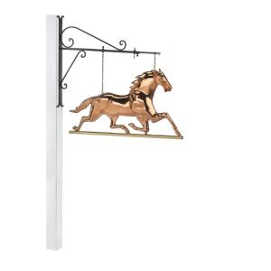 Good Directions Hanging Horse Pure Copper Weathervane Sign with Decorative Bracket:... by Good Directions