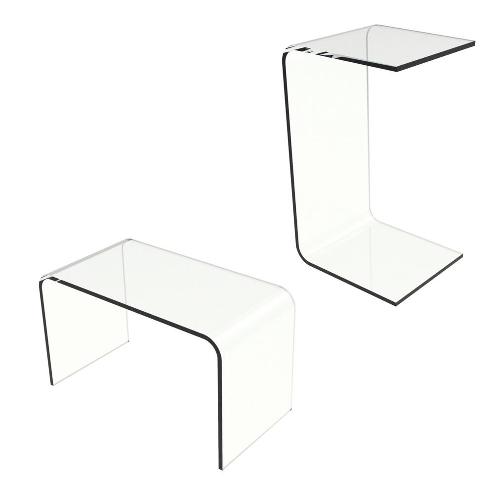 Lavish Home Acrylic Clear Modern C Style Vertical End Table Hw0200012 The Depot