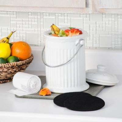 Counter Top Ceramic Compost Crock Kit with 2 Replacement Filters