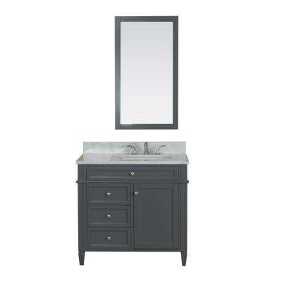 Samantha 36 in. W x 22 in. D Vanity in Gray with Marble Vanity Top in White with White Basin and Mirror