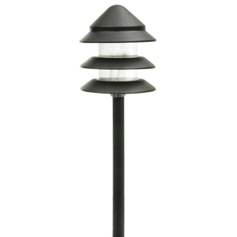 Low Voltage Black Halogen 3-Tier Path Light