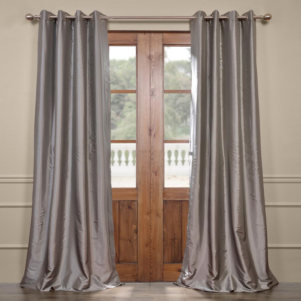 Platinum Gray Blackout Faux Silk Taffeta Grommet Curtain - 50 in. W x 96 in. L