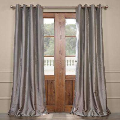 Platinum Gray Grommet Blackout Faux Silk Taffeta Curtain - 50 in. W x 120 in. L