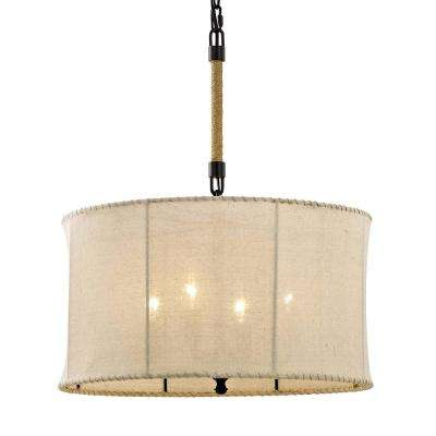 Key West 4-Light Aged Bronze Drum Pendant with Hand-Stitched Burlap Shade