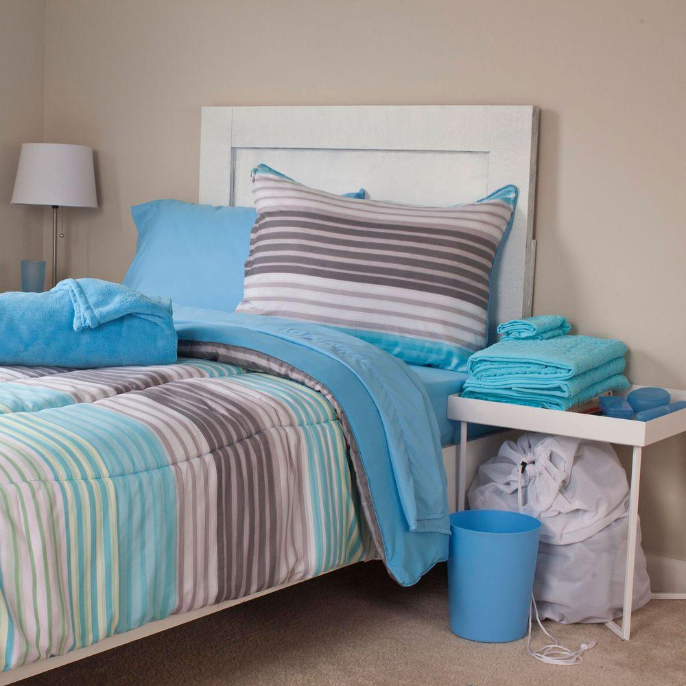 null Monaco Reversible 22-Piece Twin XL Dorm Linen Set in Blue
