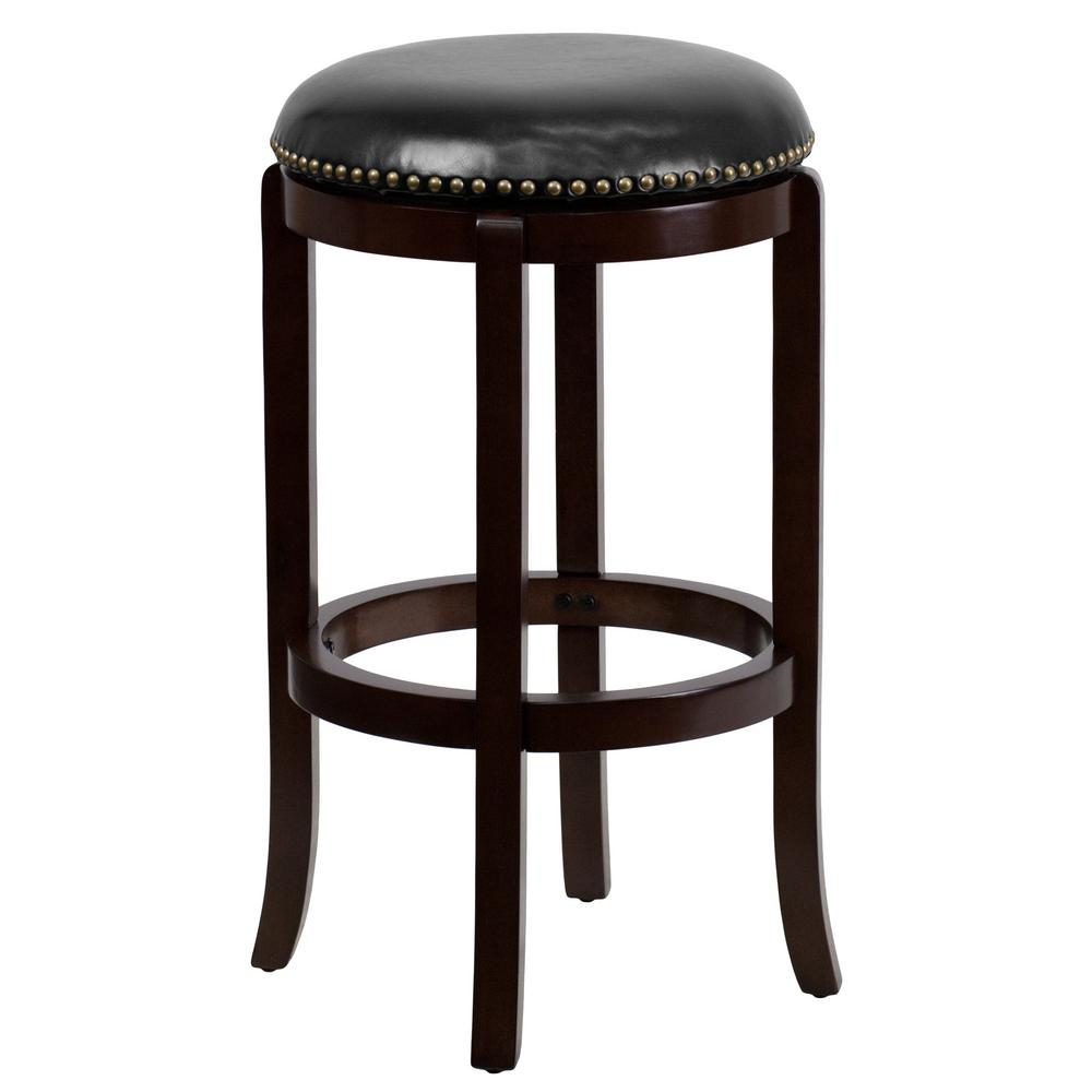 30 in. Cherry Swivel Cushioned Bar Stool