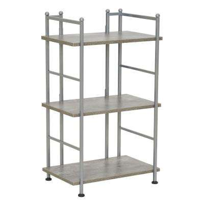 30 in. H x 18 in. W x 12.6 in. D, Narrow, Steel frame with Gray Concrete Laminate Shelves, 3 Shelf Rack
