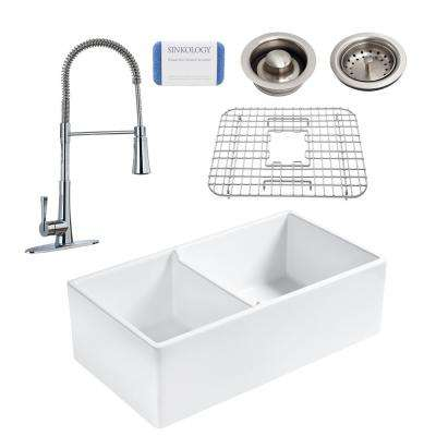 Brooks All-in-One Farmhouse Apron Fireclay 33 in. 60/40 Double Bowl Kitchen Sink with Pfister Zuri Faucet and Drains