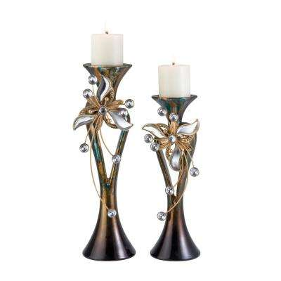 Multicolor Florria Polyresin Candleholders (Set of 2)