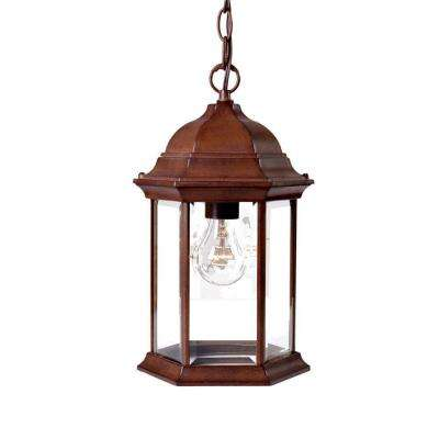 Madison Collection 1-Light Hanging Outdoor Burled Walnut Lantern