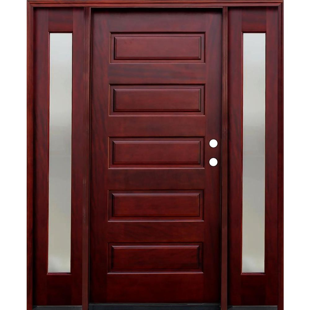 Pacific Entries 70 in. x 80 in. Contemporary 5-Panel Stained Mahogany Wood Prehung Front Door with 14 in. Mistlite Sidelites