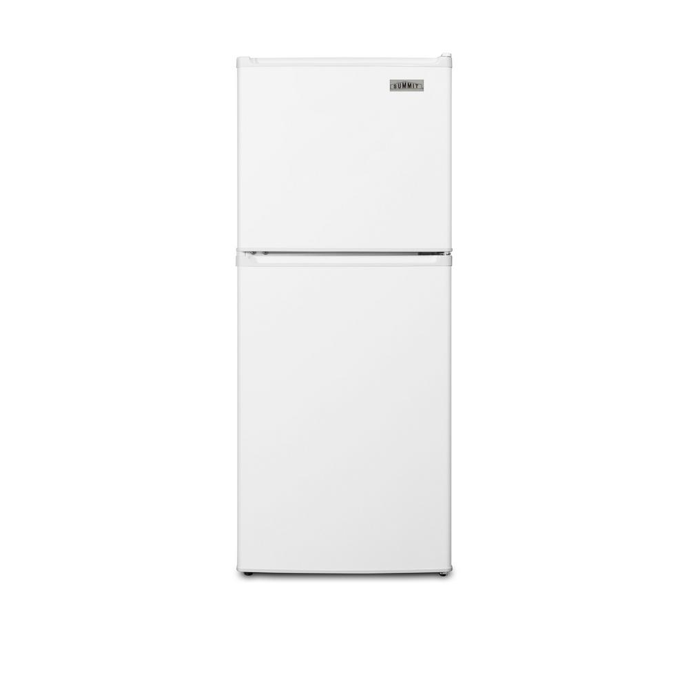 Summit Appliance 4.6 cu. ft. Top Freezer Refrigerator in White, Counter Depth SUMMIT's ENERGY STAR qualified collection of mid-sized refrigerator-freezers offers uniquely sized units with energy efficient performances. Made in North America, the FF71ES is sized just under 19 in. W, with a 46 in. height that meets ADA guidelines to provide accessibility to wheelchair users. It features a textured white finish with reversible doors for added flexibility. Inside, the FF71ES utilizes frost-free operation to minimize user maintenance. Both the refrigerator and freezer include door racks for easy storage. The fresh food section also features a large crisper drawer, interior lighting and adjustable shelves. The compact freezer includes 1 removable shelf. With its ENERGY STAR performance and compact fit, the FF71ES is the ideal refrigerator for smaller housing units, offices, dorms and other space-restricted kitchens.
