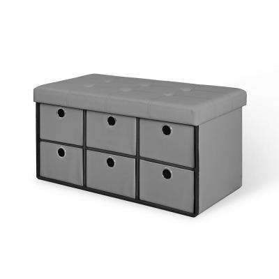Gray Folding Storage Bench with Drawers