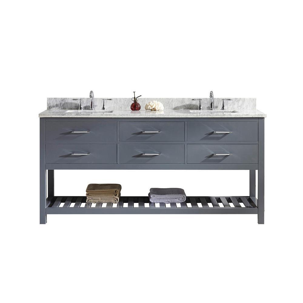 Virtu USA Caroline Estate 72 in. W Bath Vanity in Gray with Marble Vanity Top in White with Square Basin