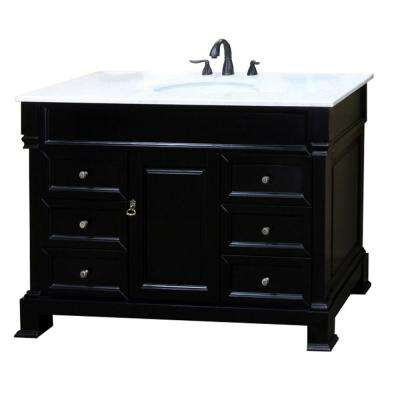 Ashington ES 60 in. W x 23 in. D Vanity in Espresso with Marble Vanity Top in White