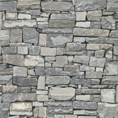 56.4 sq. ft. Wrangell Grey Stacked Slate Wallpaper