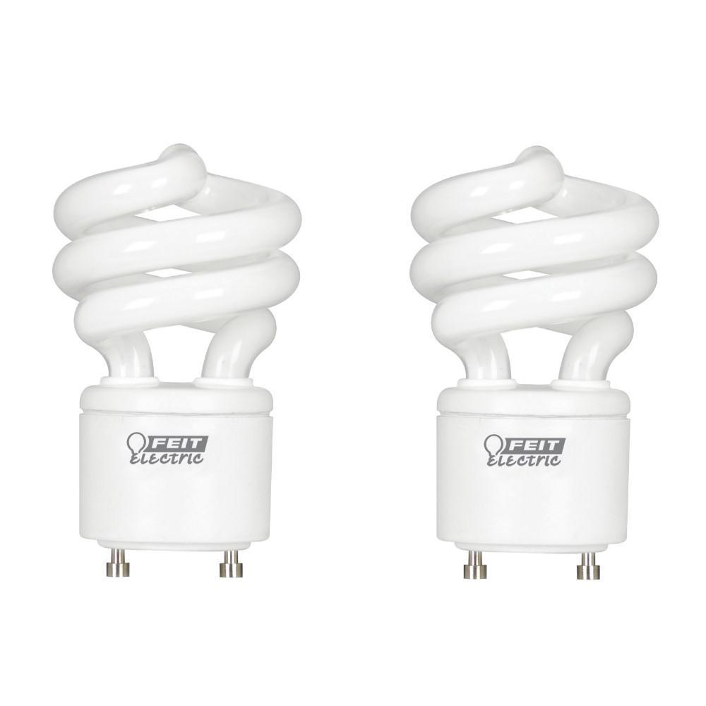60-Watt Equivalent T3 Spiral Non-Dimmable GU24 Base Compact Fluorescent CFL Light Bulb, Daylight 5000K (2-Pack)