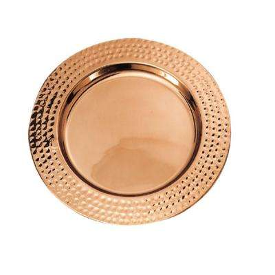 13 in. Decor Copper Hammered Rim Charger Plates (Set of 6)