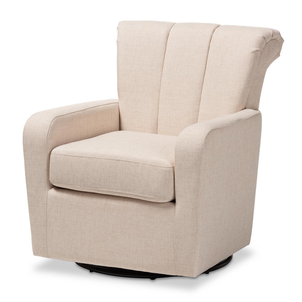 Baxton Studio Rayner Beige Fabric Swivel Chair 151-9255-HD