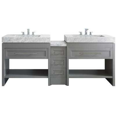Bolzana 84 in. W x 23 in. D x 36 in. H Vanity in Grey with Marble Vanity Top in Carrara White