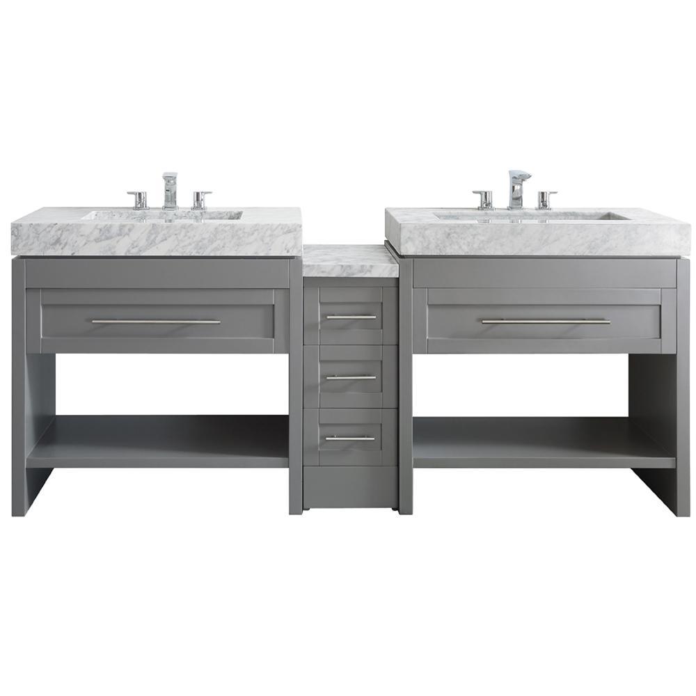 Bolzana 84 in. W x 23 in. D x 36 in. H Vanity in Grey with Marble Vanity Top in Carrara White