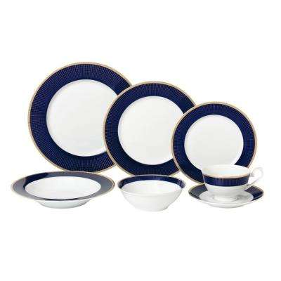 28-Piece Blue Dinnerware Set-New Bone China Service for 4-People-Midnight