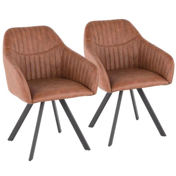 Lumisource Clubhouse Pleated Brown Faux Leather Chair (Set of 2) CH-CLBP