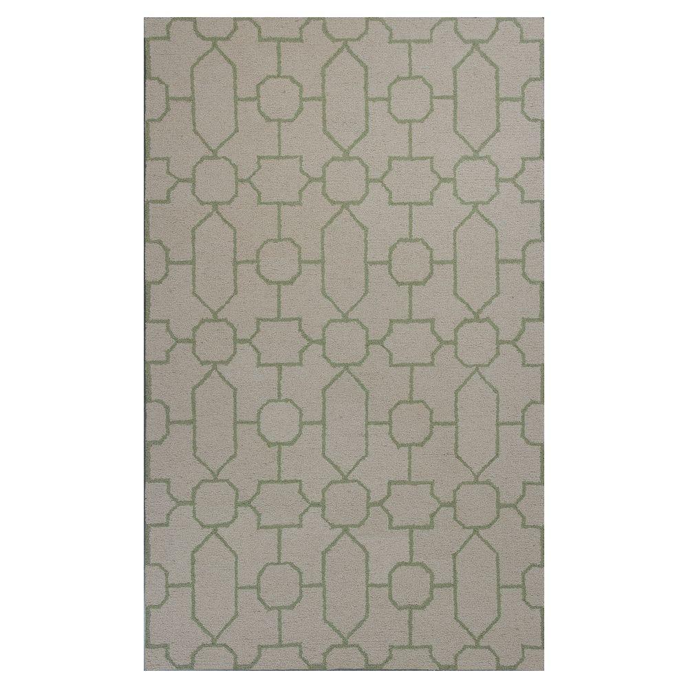 Kas Rugs Perfectly Graphic Ivory/Sage 2 ft. 3 in. x 3 ft. 9 in. Area Rug